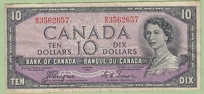 1954 Bank of Canada 10 Dollar Note Devil's Face- Coyne/Towers- B/D3562657- Fine