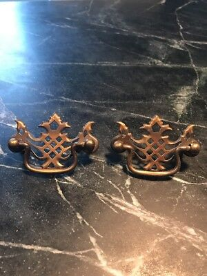 Pair Vtg Antique Drawer Pull Handle Hardware Dresser Pulls Brass Matched