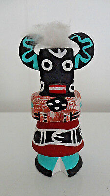 "Hopi Kachina ~ L. Pooley Signed ~ 4"" Hand Carved Black Ogre ~ Perfect Condition"