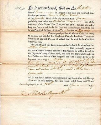 1797, Nicholas Bayard, New York, signed bond, crime committed by several men