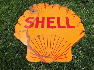 Early Vintage Shell Porcelain Gas Station Sign Oil 1930's Non Neon Double Sided