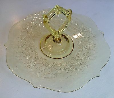 Yellow Depression Glass Ornate Handled server - Excellent vintage condition