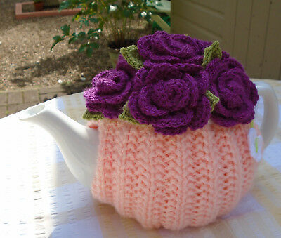 Hand Knitted Roses Tea Cosy For A Medium Teapot Crochet Flowers Butterfly