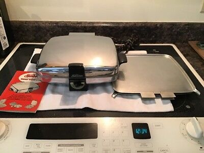 Vintage Sunbeam Radiant Control Waffle Baker & Grill W/ Booklet & Grill Plates