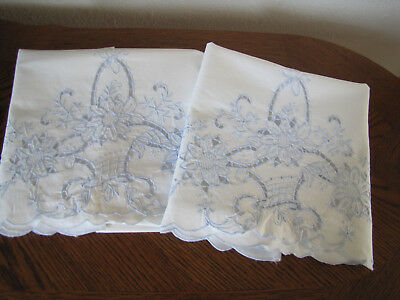 Vintage Pair of Pillowcases All White & Blue Embroidered Open Work Baskets Wow