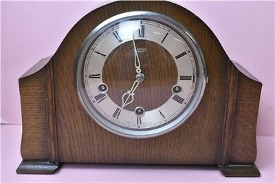 Smiths Enfield Wooden Mantle Clock With Key Retro 1930's