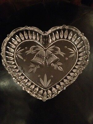 Antique Leaded Crystal Double Bell Stunning Heart Bowl 1930s Perfect
