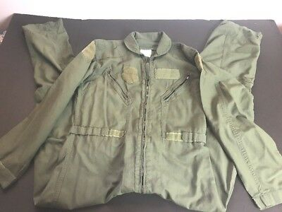 US Military Olive Green Flyers Summer Flight Suit Coveralls 42R