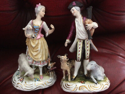 PAIR of ANTIQUE 19TH CENTURY FRENCH GERMAN PORCELAIN FIGURES 17cm CROSSED SWORDS