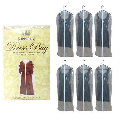 "6 x Dress Garment Storage Bags 53"" Protector Suit Cover Gown Storage Dust Travel"