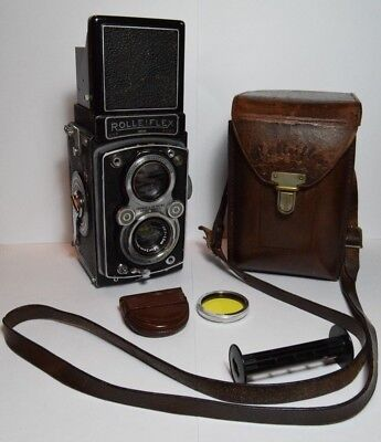 Rolleiflex Automat (1) Model 2 TLR camera + leather case & yellow Rollei filter