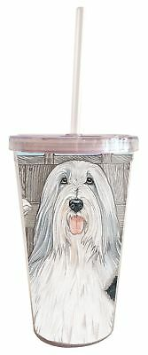 Bearded Collie Tumbler with Straw, Double Wall, 16 Ounces Acrylic Tumbler, BPA-F