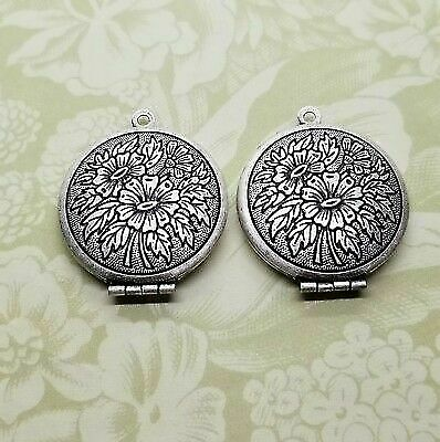 Oxidized Silver Ornate Floral Round Locket (2) - SOG083