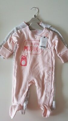 Next baby girl 2 PACK sleepsuit playsuit babygrow all in one up to 1 month