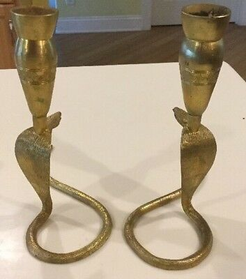 Pair Of Antique Vintage Brass Cobra Snake Candle Stick Holders