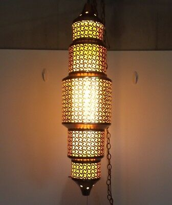 Vtg Morroccan Bohemian Punched Brass Hanging Lamp