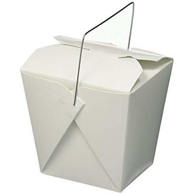 Chinese Take Out Food Boxes, White With Metal Wire Handle, Set Of 40 Containers,
