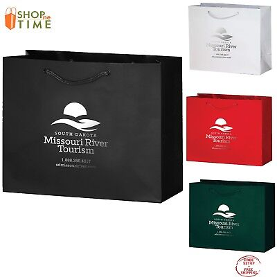 "Custom Gloss Laminated Euro Tote Bag  9"" x 7"" x 3.5"" Foil Stamp with your Logo"