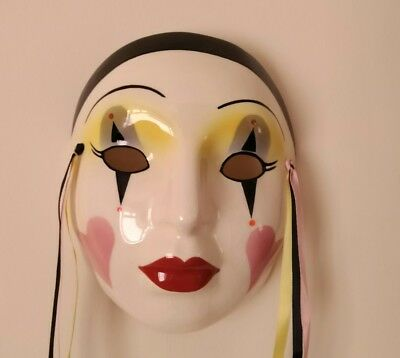 ABOUT FACE Div of CLAY ART Ceramic Wall Mask Hearts Pierrot Clown or Jester