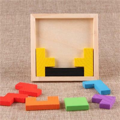 Wooden Tetris Jigsaw Board Game Child Tangram Brain Teaser Kids Puzzles Toys G
