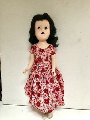 1950's IDEAL HARD PLASTIC DOLL WITH BENT KNEE & SLEEPY EYES MADE IN USA
