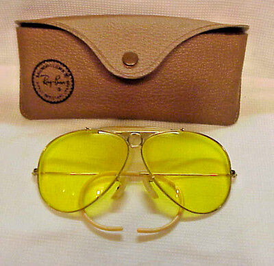Vintage B&L RAY BAN Shooting Impact Res Yellow Aviator Sunglasses Case Excellent