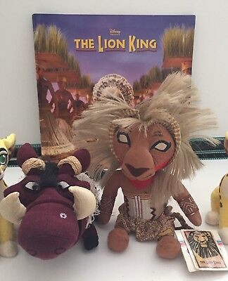 "Disney Lion King Musical - RARE Programme, 10"" Simba & 10"" Pumba Plush"