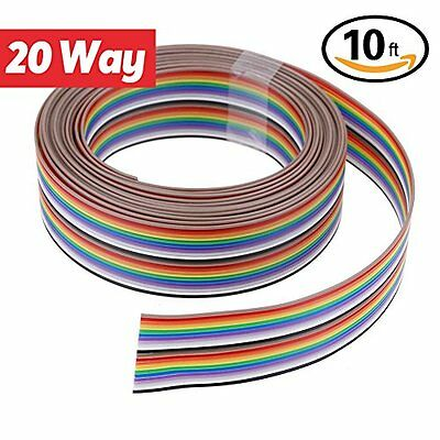 Hilitchi 10ft/3m 20 Wire Rainbow Color Flat Ribbon IDC Cable
