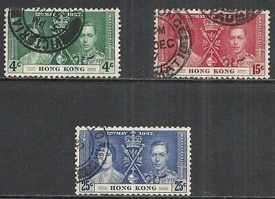 Hong Kong Scott 151 - 153 Used Set - 1937 King George Vi Coronation Issue  (E)