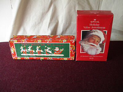 Vintage Ceramic Santa & Reindeer Noel Set With Candles And X-mas Card Bonus NR