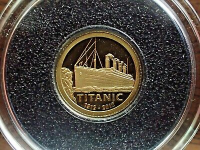 2012 $1 Cook Islands .999 Pure Gold Titanic 100th Anniversary Commemorative Coin