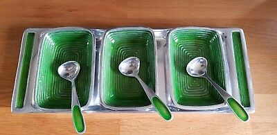 Green Enamel And Alloy Pickle Dishes - 1970's