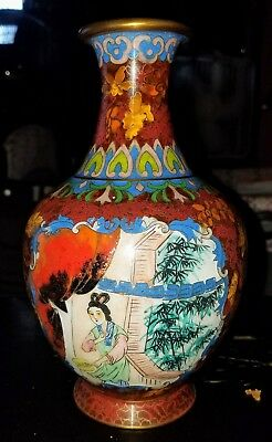 Antique Chinese  Hand Painted Cloisonne Vase