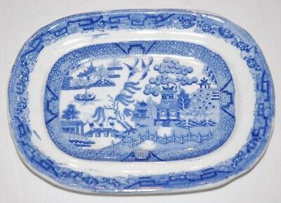 "Miniature Blue Willow Platter, may be a salesmen sample ( 7 3/4 by 5.5"" )"