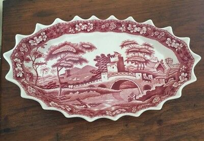 Rare SPODE COPELAND PINK TOWER Oval Spiked Crimped Pie Crust Bowl.  Old Mark