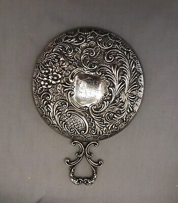 Art Nouveau Sterling Silver Round Mirror With Handle