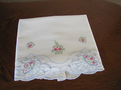 Vintage Single Pillowcase Embroidered Open Work Aster Bouquets Cherry Blossoms