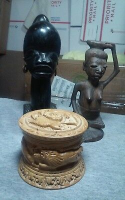 Lot of 3 African wood carvings a female bust,tribal member,trinket box