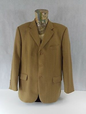 "Marks & Spencer Mens Blazer Herringbone 44"" Medium Gold <D4>>>"