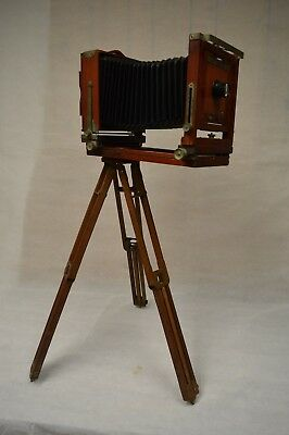 Vintage Gundlach Korona 4x5 Folding Camera with US Wood Tripod Wollensak Lens
