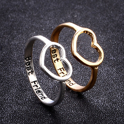 2Pc Women Heart Love Best Friend Promise Ring Gifts for Girls Friendship Jewelry