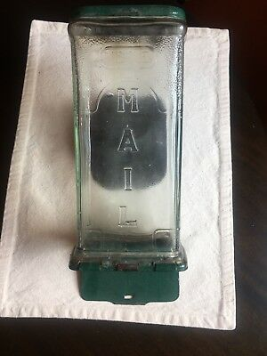 Antique Thick Glass Visible Mail Box - Letter Holder