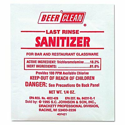 Diversey Beer Clean Last Rinse Glass Sanitizer, .25oz Powder Packet (100 Pack)