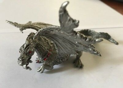 Vintage Rawcliffe pewter dragon with red eyes and collar 1988