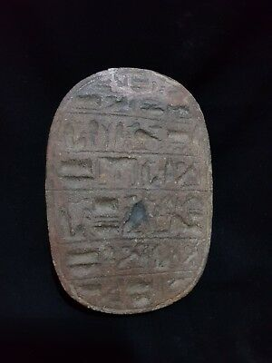 RARE ANCIENT EGYPTIAN LARGE SCARAB Beetle Amulet CARVED STONE ANCIENT EGYPT BC