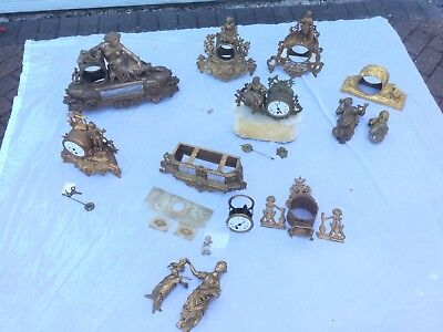 Quantity Of Antique French Figural Clocks & Cases. Spares Or Repair!