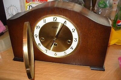 mantel  clock BENTIMA FLOATING  BALANCE MOVEMENT WESTMINSTER CLOCK WORKING + KEY
