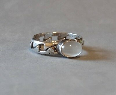 Vintage Moonstone Ring Sterling Silver Clear Quartz Gemstone Band Size 6.75