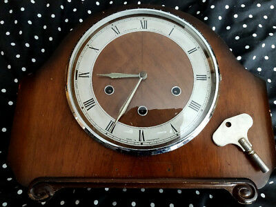Smiths 8 Day Chiming Clock Good Working Order With Key
