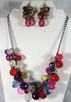Vintage Gold Plate Faceted Multi Color Lucite Cluster Bead Necklace Earrings Set
